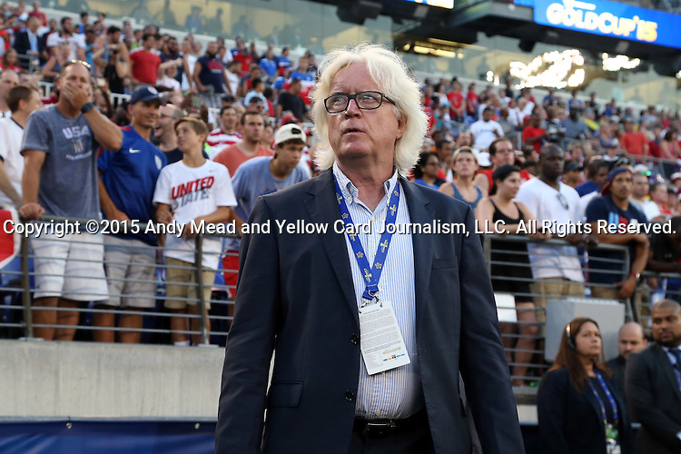 18 July 2015: Jamaica head coach Winfried Schafer (GER). The Jamaica Men's National Team played the Haiti Men's National Team at M&T Bank Stadium in Baltimore, Maryland in a 2015 CONCACAF Gold Cup quarterfinal match. Jamaica won the game 1-0.