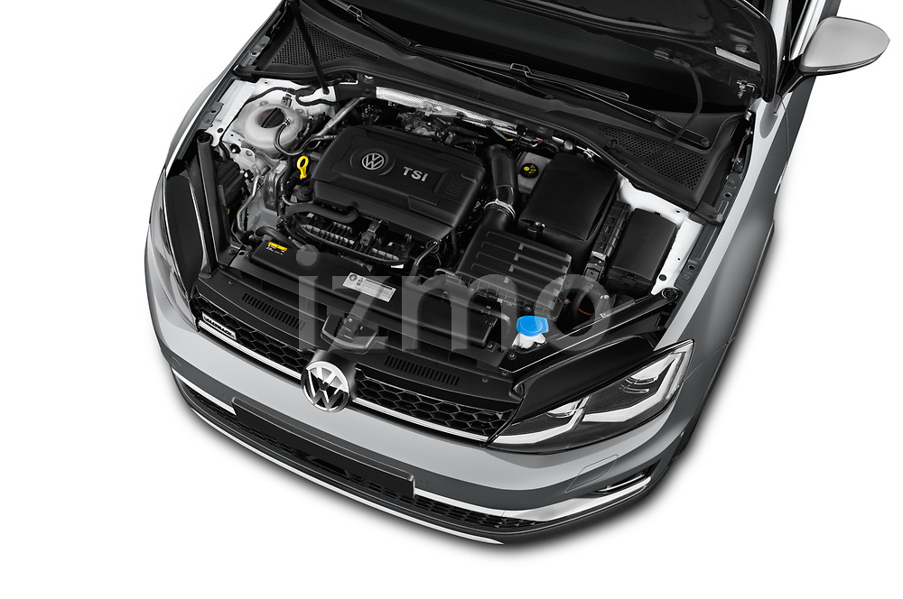 Car stock 2017 Volkswagen Golf Alltrack Base 5 Door Wagon engine high angle detail view
