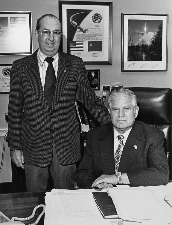 Rep. Olin E. Teague, D-Tex., and Fisher in the office. 1975 (Photo by Dev O'Neill/CQ Roll Call)