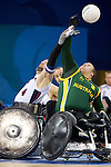 Bryan Kirkland (US) and Ryley Batt (AUS) go up for the toss at the start of the gold medal match. .Australia v USA in the final of the mixed wheelchair rugby in Beijing, China at the Paralympics 2008, on the 16th September 2008.USA won the match 53-44 to take the gold medal