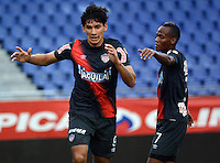 BARRANQUILLA -COLOMBIA-13-AGOSTO-2014. Roberto Ovelar  del Atletico Junior celebra su gol contra el  Barranquilla FC    ,  partido de la Copa Postobon octava fecha disputado en el estadio Metropolitano. / Roberto Ovelar  of Atletico Junior celebrates his goal against   of Barranquilla FC , match of the Copa Postobon eighth round match at the Metropolitano stadium  Photo: VizzorImage / Alfonso Cervantes / Stringer
