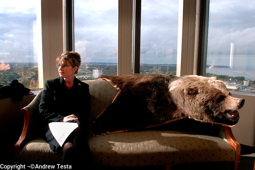USA. Anchorage. 13th September 2007.The Governor at her office in Anchorage. The bear was shot by her father.©Andrew Testa/Panos