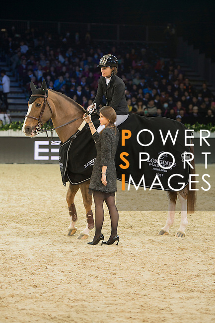 Pilar Lucrecia Cordon of Spain riding on Coriana van Klapscheut wins the EEM Trophy, part of the Longines Masters of Hong Kong on 10 February 2017 at the Asia World Expo in Hong Kong, China. Photo by Marcio Rodrigo Machado / Power Sport Images