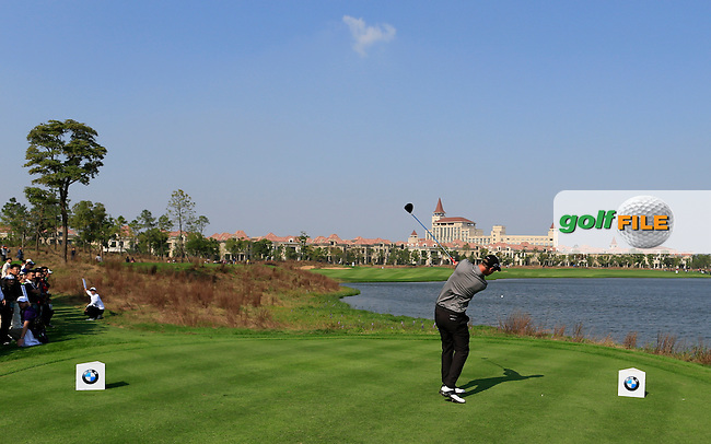 Nicolas Colsaerts (BEL) tees off the 9th tee during Sunday's Final Round of the 2014 BMW Masters held at Lake Malaren, Shanghai, China. 2nd November 2014.<br /> Picture: Eoin Clarke www.golffile.ie