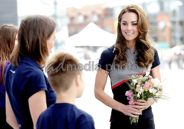 24 July 2016 - Princess Kate Duchess of Cambridge at the British Team at the America's Cup World Series Race in Portsmouth. The royal couple visited the home of the British competitors for the America's Cup before observing the ongoing competition. Photo Credit: ALPR/AdMedia