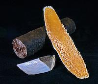 Alimentos. Guaranã em bastão, lingua e escama do peixe pirarucu. Foto de Sônia Oddi.