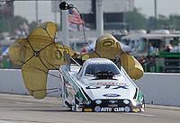 Apr. 26, 2013; Baytown, TX, USA: NHRA funny car driver John Force during qualifying for the Spring Nationals at Royal Purple Raceway. Mandatory Credit: Mark J. Rebilas-