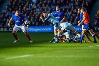 8th March 2020; Murrayfield Stadium, Edinburgh, Scotland; International Six Nations Rugby, Scotland versus France; Ali Price of Scotland clears the ball in the sunshine