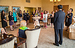 DePaul President A. Gabriel Esteban, Ph.D., thanks his hosts during a reception Thursday, July 20, 2017, at The Chicago Club. The event was organized to welcome the Estebans to Chicago and introduce them to some of Chicago&rsquo;s most influential women. <br /> (DePaul University/Jamie Moncrief)
