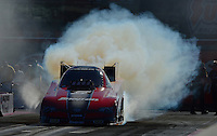 Oct. 28, 2012; Las Vegas, NV, USA: NHRA funny car driver Cruz Pedregon during the Big O Tires Nationals at The Strip in Las Vegas. Mandatory Credit: Mark J. Rebilas-