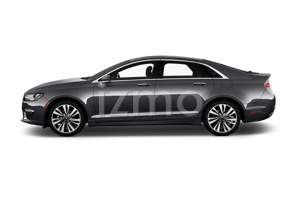 Car Driver side profile view of a 2018 Lincoln MKZ Reserve 4 Door Sedan Side View