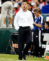 NY Red Bulls head coach, Juan Carlos Osorio watches a replay on the scoreboard during the game. Chivas USA  took on the NY Red Bulls on June 28, 2008 at the Home Depot Center in Carson, CA. The game ended in a 1-1 tie.