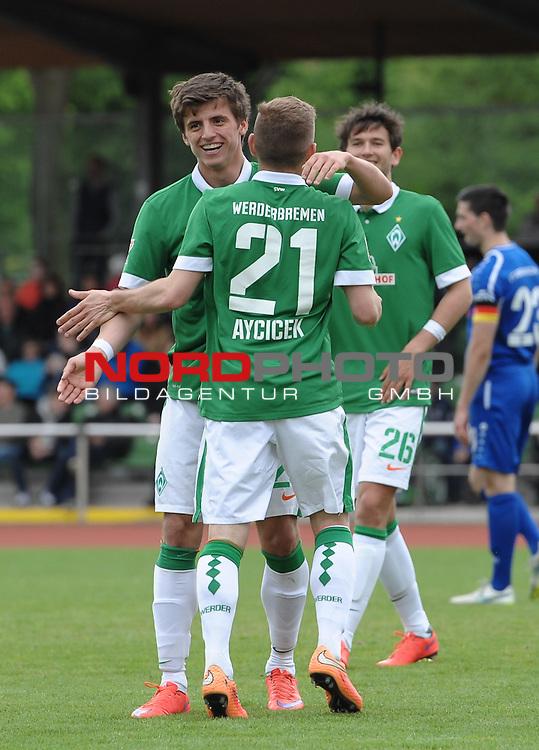 17.05.2015, Platz 11, Bremen, GER, RLN, Werder Bremen II vs FT Braunschweig, im Bild Jubel bei Enis Bytyqi (Bremen #28) und Levent Aycicek (Bremen #21)<br /> <br /> Foto &copy; nordphoto / Frisch