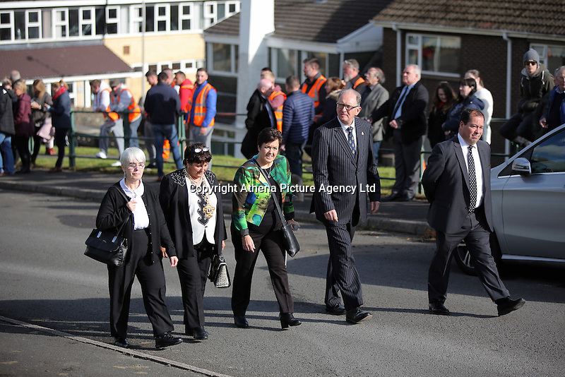 Pictured: Local dignitaries arrive at the Memorial Garden in Aberfan Friday 21 October 2016<br />