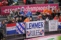 SCHAATSEN: HAMAR: Vikingskipet, 11-01-2014, Essent ISU European Championship Allround, schaatssupporters Lemmer, ©foto Martin de Jong