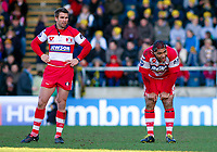 Nicky Robinson and Lesley Vainikolo take a breather during a break in play. Guinness Premiership match between London Wasps and Gloucester on March 7, 2010 at Adams Park in High Wycombe, England. [Mandatory Credit: Patrick Khachfe/Onside Images]