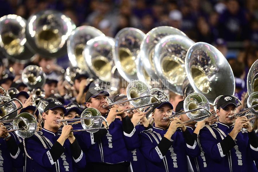 Jan. 3, 2013; Glendale, AZ, USA: Kansas State Wildcats marching band performs against the Oregon Ducks during the 2013 Fiesta Bowl at University of Phoenix Stadium. Oregon defeated Kansas State 35-17. Mandatory Credit: Mark J. Rebilas-