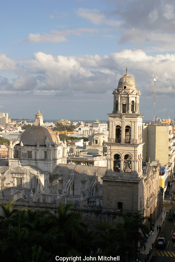 View of downtown Veracruz, Mexico, with the cathedral and Plaza de Armas in foreground.