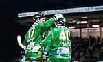 Stockholm 2014-11-29 Bandy Elitserien Hammarby IF - IK Sirius :  <br /> Hammarbys Robin Sundin firar sitt 5-2 m&aring;l med Adam Gilljam under matchen mellan Hammarby IF och IK Sirius <br /> (Foto: Kenta J&ouml;nsson) Nyckelord:  Elitserien Bandy Zinkensdamms IP Zinkensdamm Zinken Hammarby Bajen HIF HeIF Sirius IKS jubel gl&auml;dje lycka glad happy