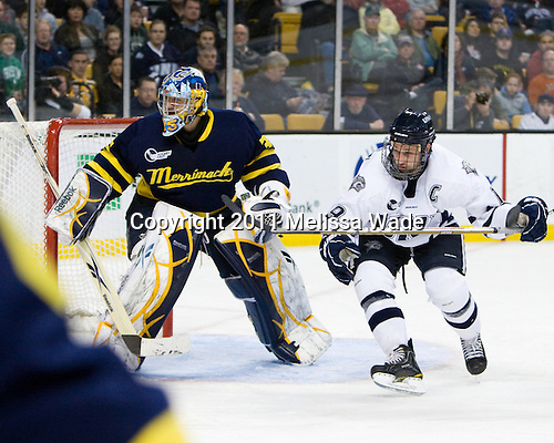 Joe Cannata (Merrimack - 35), Mike Sislo (UNH - 19) - The Merrimack College Warriors defeated the University of New Hampshire Wildcats 4-1 (EN) in their Hockey East Semi-Final on Friday, March 18, 2011, at TD Garden in Boston, Massachusetts.