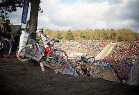 Kevin Pauwels (BEL/Sunweb-Napoleon Games) climbing out of &quot;The Pit&quot;<br /> <br /> GP Zonhoven 2014
