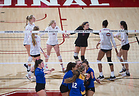STANFORD, CA - December 1, 2017: Kathryn Plummer, Jenna Gray, Courtney Bowen, Kate Formico, Morgan Hentz, Michaela Keefe at Maples Pavilion. The Stanford Cardinal defeated the CSU Bakersfield Roadrunners 3-0 in the first round of the NCAA tournament.