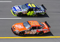 Apr 25, 2008; Talladega, AL, USA; NASCAR Sprint Cup Series driver Tony Stewart (20) races alongside Jimmie Johnson (48) during practice for the Aarons 499 at Talladega Superspeedway. Mandatory Credit: Mark J. Rebilas-US PRESSWIRE