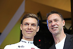 Tony Martin (GER) Team Katusha Alpecin with MC Jens Voigt on stage at the Team Presentation in Burgplatz Dusseldorf before the 104th edition of the Tour de France 2017, Dusseldorf, Germany. 29th June 2017.<br /> Picture: Eoin Clarke | Cyclefile<br /> <br /> <br /> All photos usage must carry mandatory copyright credit (&copy; Cyclefile | Eoin Clarke)