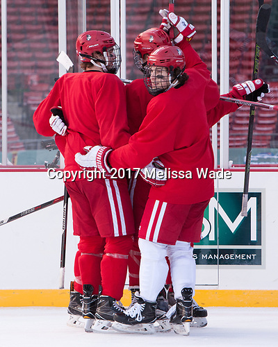 Jakob Forsbacka Karlsson (BU - 23), Patrick Curry (BU - 11) - The Boston University Terriers practiced on the rink at Fenway Park on Friday, January 6, 2017.The Boston University Terriers practiced on the rink at Fenway Park on Friday, January 6, 2017.
