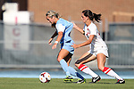 30 August 2013: North Carolina's Summer Green (left) has her jersey pulled by New Mexico's Maddie Irwin (30). The University of North Carolina Tar Heels hosted the University of New Mexico Lobos at Fetzer Field in Chapel Hill, NC in a 2013 NCAA Division I Women's Soccer match. UNC won the game 2-1.