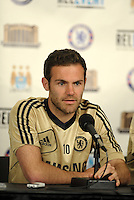 Chelsea F.C training at Busch Stadium, St Louis ahead of the friendly game verus Manchester City..Juan Mata pre practice press conference