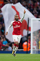 Arsenal's Alexandre Lacazette celebrates scoring the opening goal <br /> <br /> Photographer Craig Mercer/CameraSport<br /> <br /> The Premier League - Arsenal v Leicester City - Friday 11th August 2017 - Emirates Stadium - London<br /> <br /> World Copyright &copy; 2017 CameraSport. All rights reserved. 43 Linden Ave. Countesthorpe. Leicester. England. LE8 5PG - Tel: +44 (0) 116 277 4147 - admin@camerasport.com - www.camerasport.com