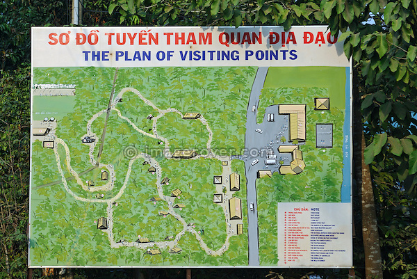 Asia, Vietnam, Cu Chi nr. Ho Chi Minh City (Saigon). Cu Chi Tunnels. Area map. Tunnel complexes have been used by the Vietnamese for centuries, they were a key part of guerilla warfare during the Vietnam War and played  major role in defeating US American soldiers.