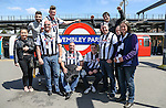 Grimsby Town fans arrive ahead of the 2015 Vanarama Conference Promotion Final match between Grimsby Town and Bristol Rovers at Wembley Stadium, London<br /> Picture by David Horn/eXtreme aperture photography +44 7545 970036<br /> 17/05/2015
