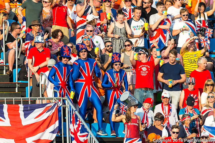 British fans dressed up for the final before Netherlands vs Great Britain in the gold medal final at the Rio 2016 Olympics at the Olympic Hockey Centre in Rio de Janeiro, Brazil.