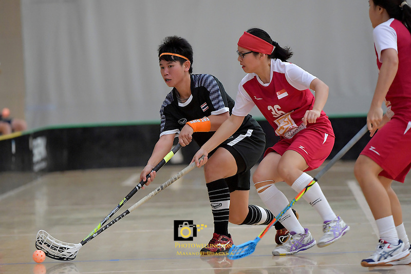 Thailand's Thanaporn Tongkham in action during the World Floorball Championships 2017 Qualification for Asia Oceania Region - Singapore v Thailand at ASB Sports Centre , Wellington, New Zealand on Sunday 5 February 2017.<br /> Photo by Masanori Udagawa<br /> www.photowellington.photoshelter.com.