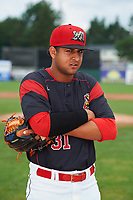 Batavia Muckdogs pitcher Jeremy Ovalle (31) poses for a photo before a game against the Tri-City ValleyCats on July 15, 2017 at Dwyer Stadium in Batavia, New York.  Tri-City defeated Batavia 5-4.  (Mike Janes/Four Seam Images)