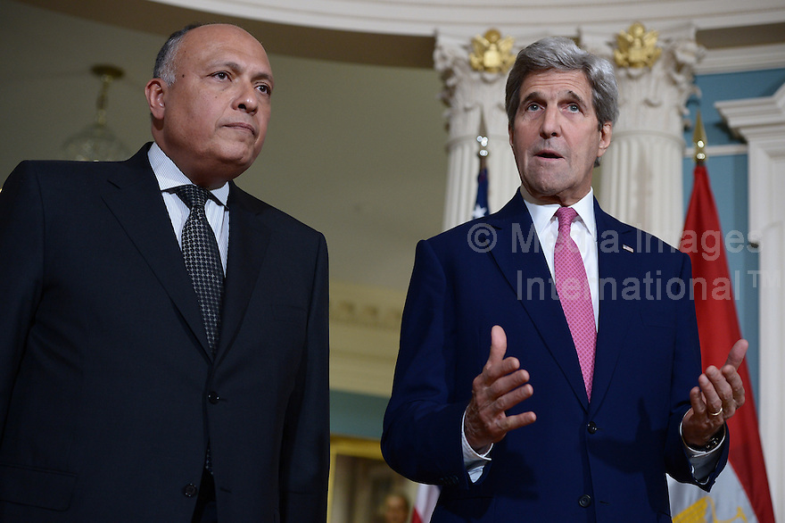 Washington, DC - March 30, 2016: U.S. Secretary of State John Kerry meets with Egyptian Foreign Minister Sameh Shoukry in the Treaty Room at the Department of State in the District of Columbia, March 30, 2016, one day ahead of the Nuclear Summit at the Washington Convention Center. (Photo by Don Baxter/Media Images International)