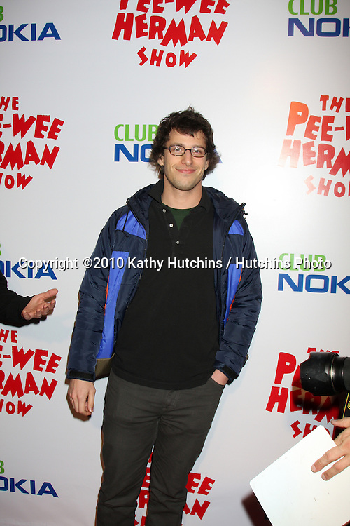 "Andy Samberg.arriving at the ""The Pee Wee Herman Show"" Opening Night..Club Nokia.Los Angeles, CA.January 20, 2010.©2010 Kathy Hutchins / Hutchins Photo...."