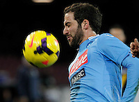 Gonzalo Higuain  controls the ball  during the Italian Serie A soccer match between SSC Napoli and Parma FC at San Paolo stadium in Naples