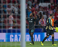 Chelsea´s forward Michy Batshuayi celebrating after scorng during the UEFA Champions League group C match between Atletico Madrid and Chelsea played at the Wanda Metropolitano Stadium in Madrid, on September 27th 2017.