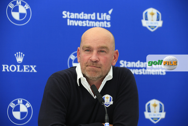 Thomas Bjorn speaking at the announcement of the Ryder cup vice captains press conference during  round 2 of the 2016 BMW PGA Championship. Wentworth Golf Club, Virginia Water, Surrey, UK. 27/05/2016.<br /> Picture Fran Caffrey / Golffile.ie<br /> <br /> All photo usage must carry mandatory copyright credit (&copy; Golffile   Fran Caffrey)