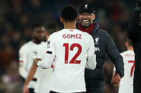 23rd November 2019; Selhurst Park, London, England; English Premier League Football, Crystal Palace versus Liverpool; Liverpool Manager Jurgen Klopp celebrates the 1-2 win with Joe Gomez - Strictly Editorial Use Only. No use with unauthorized audio, video, data, fixture lists, club/league logos or 'live' services. Online in-match use limited to 120 images, no video emulation. No use in betting, games or single club/league/player publications
