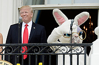United States President Donald Trump makes remarks as he attends the annual Easter Egg Roll on the South Lawn of the White House  in Washington, DC, on April 17, 2017. <br /> CAP/MPI/CNP/RS<br /> &copy;RS/CNP/MPI/Capital Pictures