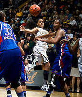Brittany Boyd of California passes the ball during the game against Kansas at Haas Pavilion in Berkeley, California on December 21st, 2012.  California defeated Kansas, 88-79.