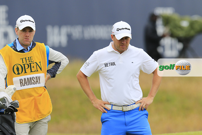 Richie RAMSAY (SCO) and caddy Ryan at the 17th green during Monday's Final Round of the 144th Open Championship, St Andrews Old Course, St Andrews, Fife, Scotland. 20/07/2015.<br /> Picture Eoin Clarke, www.golffile.ie