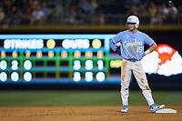 Michael Busch (15) of the North Carolina Tar Heels stands on second base against the South Carolina Gamecocks at BB&T BallPark on April 3, 2018 in Charlotte, North Carolina. The Tar Heels defeated the Gamecocks 11-3. (Brian Westerholt/Four Seam Images)