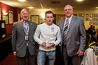 Aaron Lewis receives award after the Barclays Premier League match between Swansea City and Manchester City played at the Liberty Stadium, Swansea on the 15th of May  2016