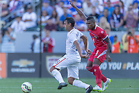 Carson, CA - Sunday, February 8, 2015 Chris Wondolowski (18) of the USMNT and Harold Cummings (3) of Panama. The USMNT defeated Panama 2-0 during an international friendly at the StubHub Center