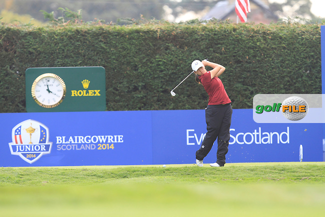 Andrea Lee (USA) on the 15th tee of the Mixed Fourballs during the 2014 JUNIOR RYDER CUP at the Blairgowrie Golf Club, Perthshire, Scotland. <br /> Picture:  Thos Caffrey / www.golffile.ie